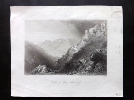 Bartlett Danube 1844 Antique Print. Castle of Spitz - Arensdorf, Austria
